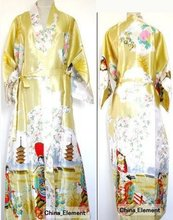 New Arrival 10Color Women Sexy Kimono Robe Gown Chinese Silk Rayon Lingerie Long Sleepwear Printed Fairy Pajama Plus Size (China (Mainland))