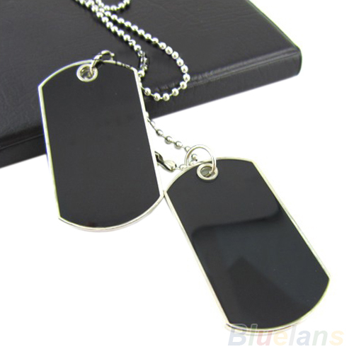 Army Tactical Style Black 2 Dog Tags Chain Beauty Mens Pendant Necklace for Men Jewelry 02IR