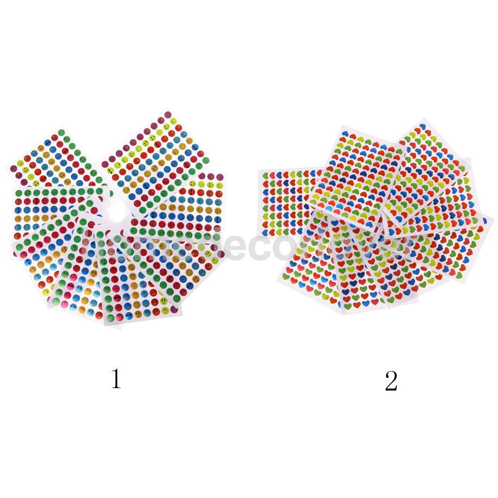 10x Children Multicolor Mini Removable Teacher Reward Stickers Smile Face/Love Heart(China (Mainland))