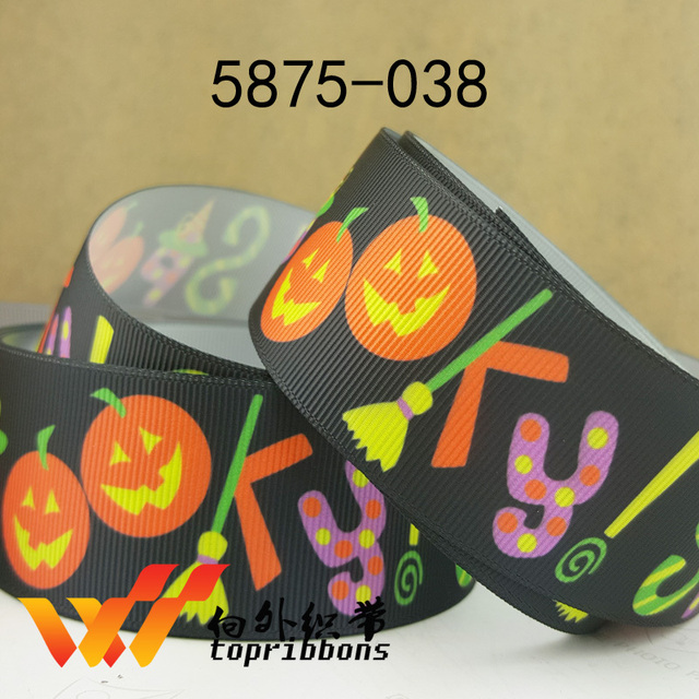 "Free shipping 50 yards 1.5"" 38mm Halloween ribbons printed grosgrain ribbon 5875-038"