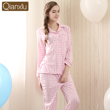 New Plaid women long-sleeve cotton sleep pajama sets female nightwear lady floral Pyjamas nightgowns teenage pijamas sleepwear