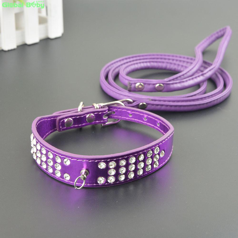 Hot Sale! Fashion 3 Rows Diamond Reflective Pu Leather Pet Dog Necklace Collar Puppy Leash Lead(China (Mainland))