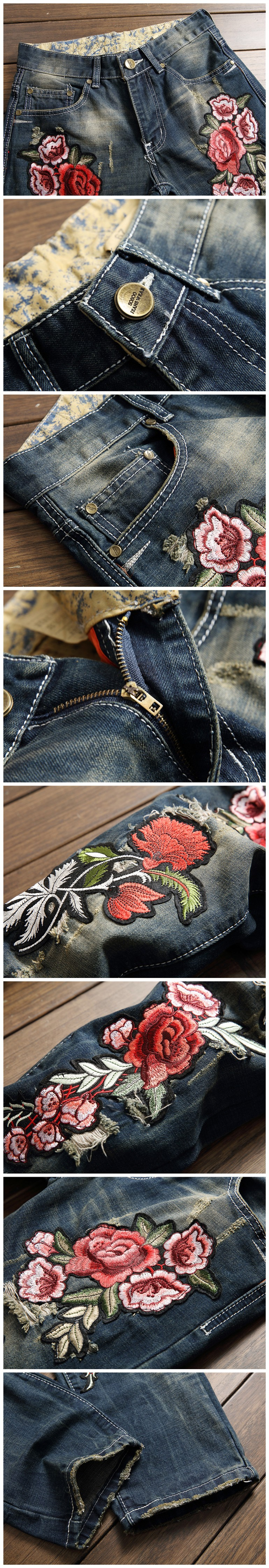 Mens Fashion Jeans Brand Designer Rose Embroidery Denim Trousers Biker Ripped Jeans for Men Distressed Pants European style (7)