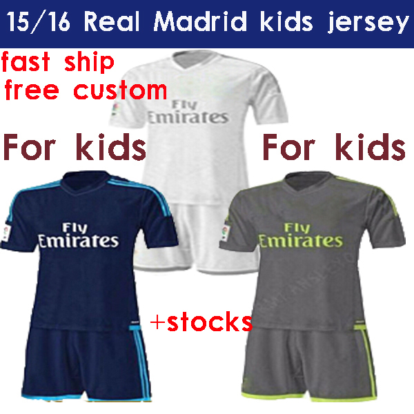 Wholesale Soccer Jerseys Real Madrid Kids 2016 Kids Ronaldo Children Kits Isco Youth Set Uniform Bale James Boys Baby 15/16(China (Mainland))