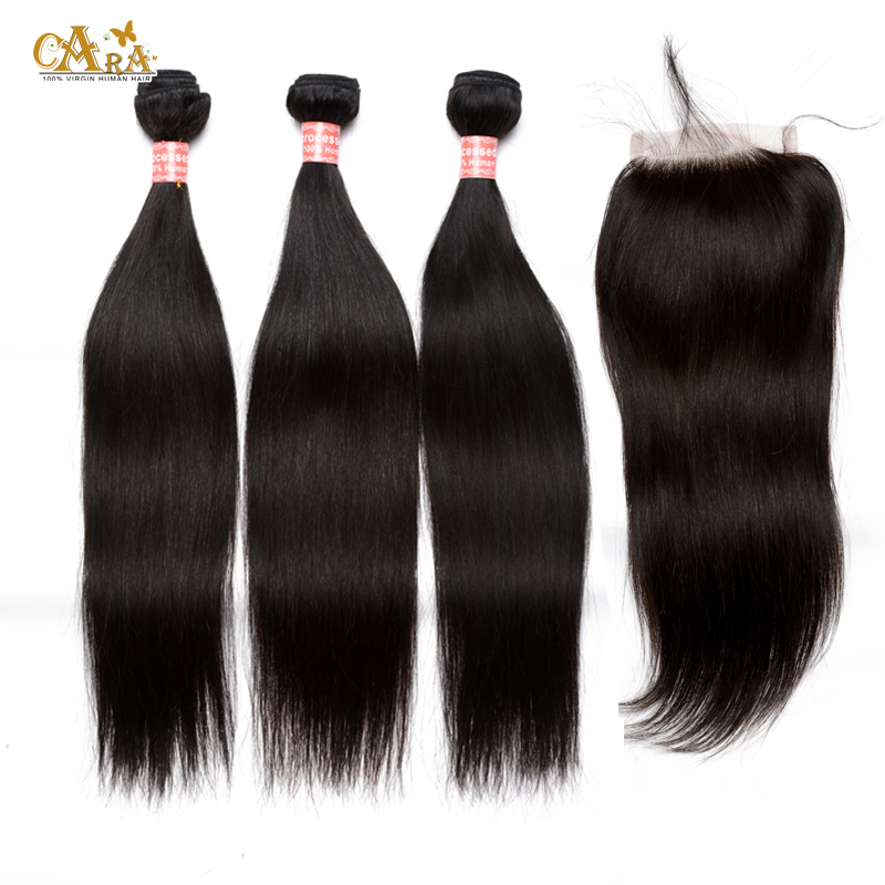 6A Peruvian Virgin Hair With Closure Silk Straight Human Hair Weave Bundles With Lace Closures Peruvian Human Hair With Closure<br><br>Aliexpress