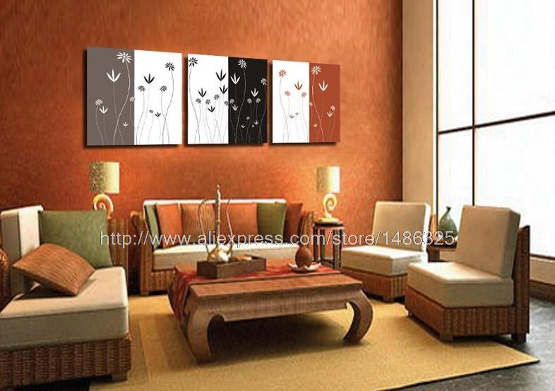 3 piece wall art on canvas black and white ed cute lovely for Living hall decoration
