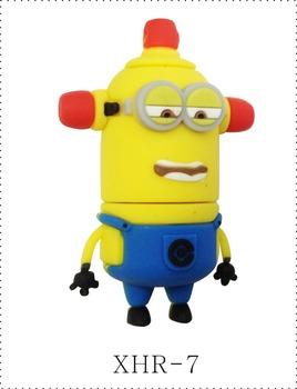 Free Shipping Little Yellow Cartoon Character Shape USB Flash Memory 1GB 2GB 4GB 8GB 16GB 32GB Drive Pen
