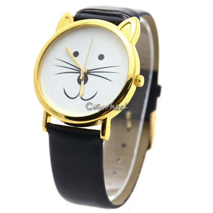 cheap s cat beard synthetic leather watches