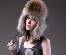 Fashion Womens Real Fox Fur Hat with Polyester Cute Ladies Winter Fox Fur Solid Cap LX00010(China (Mainland))