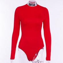 InstaHot algodón letra impresa cuello alto Bodysuits mujeres Mock Neck otoño Bodycon Tops monos elástico fiesta moda cuerpo(China)