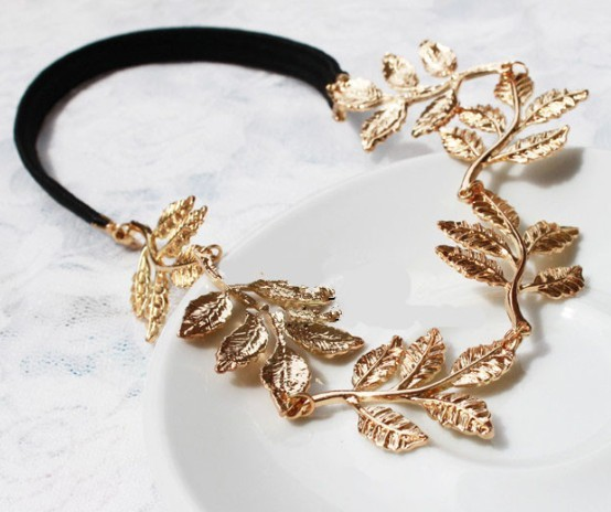 British Style Romantic Olive Branch Leaves Decoration Ribbon Hair Bands 048(China (Mainland))