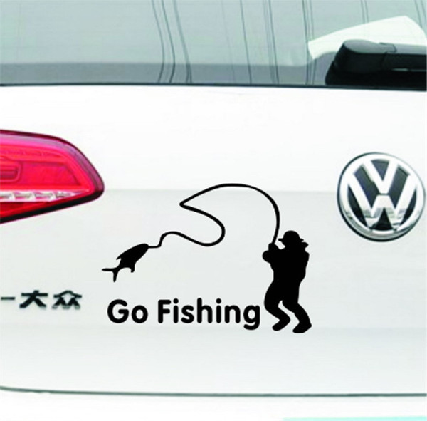 Car-Styling 2015 Fashion Cartoon Black/White Old People Go Fishing DIY Car Sticker for Cars Accessories Decoration 1pcs/lot(China (Mainland))