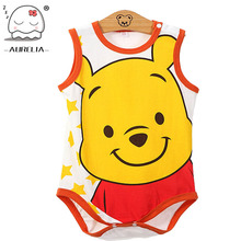 Sleeveless Cartoon Print Baby Rompers Newborn Baby Boys Girls Clothes Jumpsuits Infant Baby Costumes Ropa De