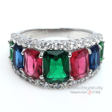 Sterling Silver Jewelry Party Ornate Emerald Ruby Sapphire Colorful Topaz Crystal CZ Diamond 925 Sterling Silver