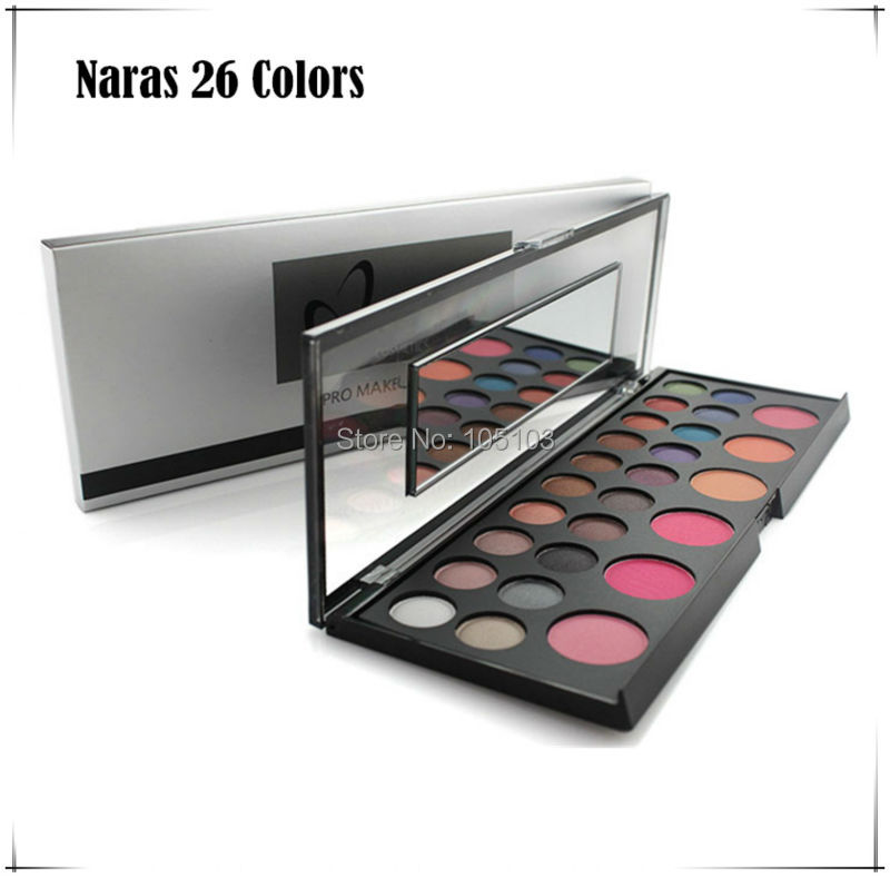 Free shipping New arrived Pro Naras 26 color makeup set 20 color eyeshadow+ 6 color blush set with Mirror high quality(China (Mainland))