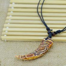 New Brand Light Brown Yak bone carving Dragon Totem Pendant Supporter talismans Necklace Jewelry free shipping