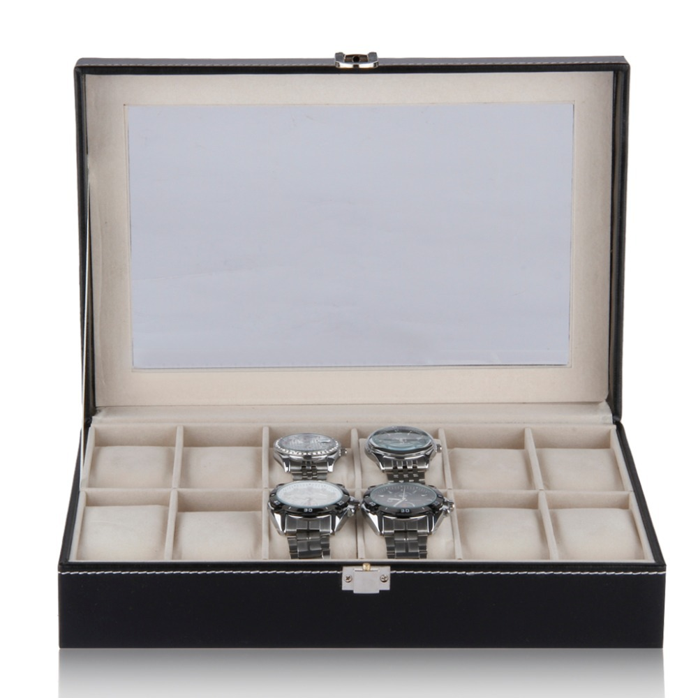Hot !2015 Luxury Brand Watch Display Box Faux Leather 12 Grid Case Jewelry Storage Organizer For Your Watches Gift caja reloj(China (Mainland))