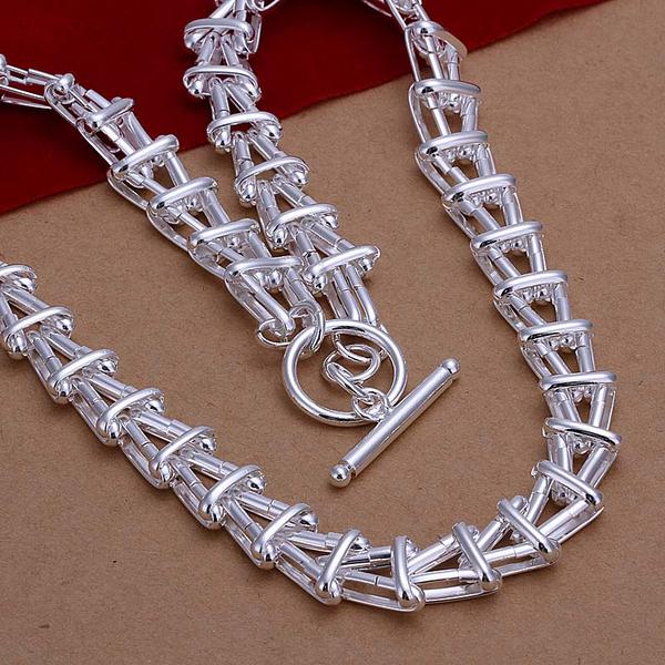 Men's necklace Fish Bones Chokers jewelry 18'' Top quality 925 stamped silver plated chains n266 gift pouches Colar de Prata(China (Mainland))