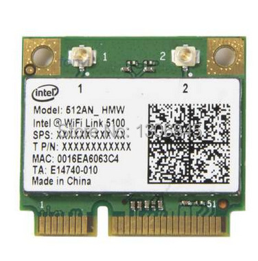 New Intel WiFi Link 5100 512AN half Mini PCI-E 300Mbps 2.4G/5.0G Wireless Card(China (Mainland))