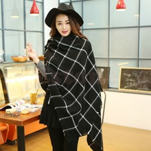 2016 newest 1X Women Lady Blanket Black White Plaid Cozy Checked Tartan Scarf Wrap Shawl free shipping