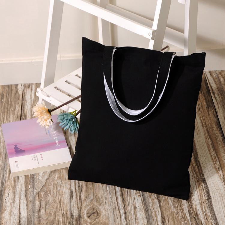 Original eco thick black cotton canvas shoulder bag Shoulin(China (Mainland))