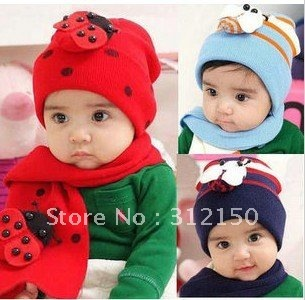 6sets free shipping Baby ladybug hat and scarf set Free shipping ladybird DR.CAP HATS Beetle sets baby hat