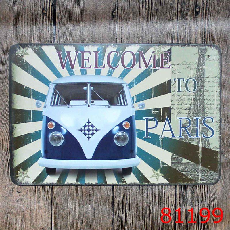 Welcome to Paris Bus Metal Tin Sign Iron Antique Tin Painting House DECOR Coffee Shop Sticker 20X30CM(China (Mainland))