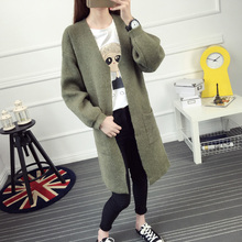 Autumn and winter female medium-long sweater outerwear cardigan thick loose lantern sleeve V-neck pocket sweater
