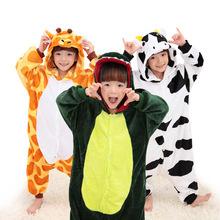 Children Soft Flannel Pyjamas Boys girls Dinosaur Stitch Animal Cartoon onesies kids Pajamas Pijamas Cosplay Hoodies Sleepwear