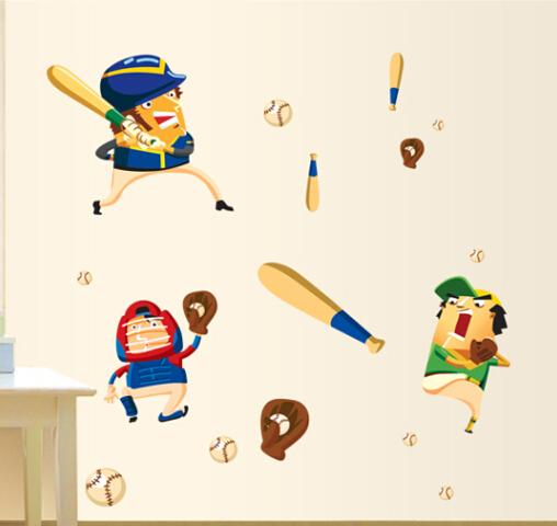 Винил стена наклейки комикс бейсбол плеер для дома декор стена наклейки для детей номера обои мальчики комната декор