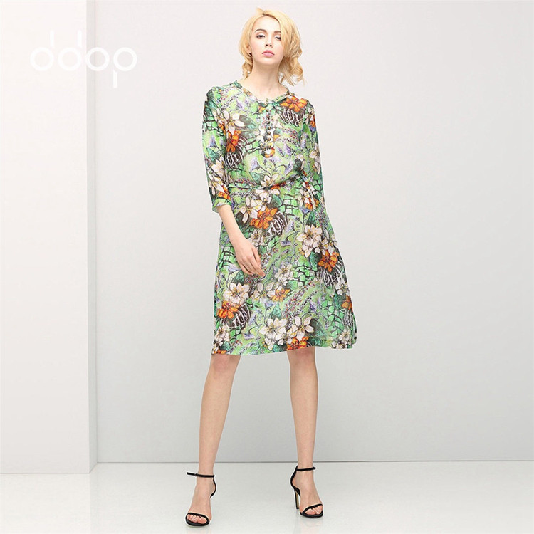 Vintage Floral Silk Linen Dress 2016 Spring Summer Half Sleeve Ladies Dresses Tunique Femme New Vestidos Vintage 2016
