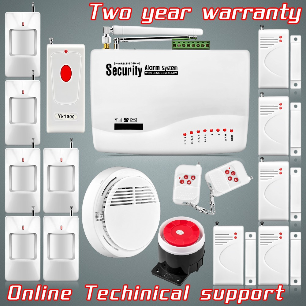 Hot Selling!! Russian Manual Wireless GSM Alarm Systems Security Home Dual Antenna For Home Security+Smoke Detector+Panic Button<br><br>Aliexpress