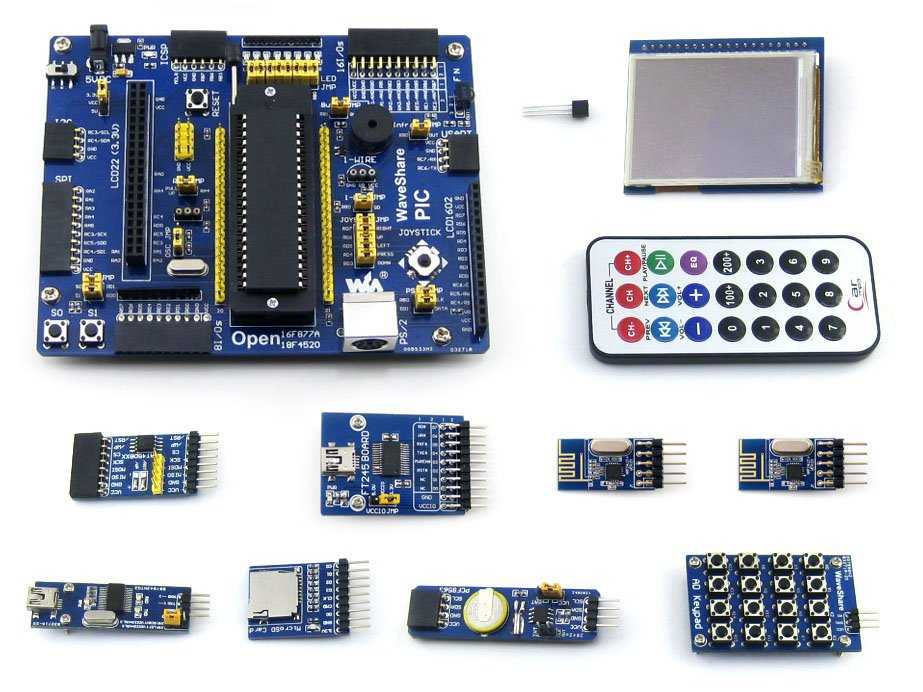 Фотография PIC Board PIC18F4520-I/P PIC18F4520 8-bit RISC PIC Development Board +11 Accessory Kits =Waveshare Open18F4520 Package A