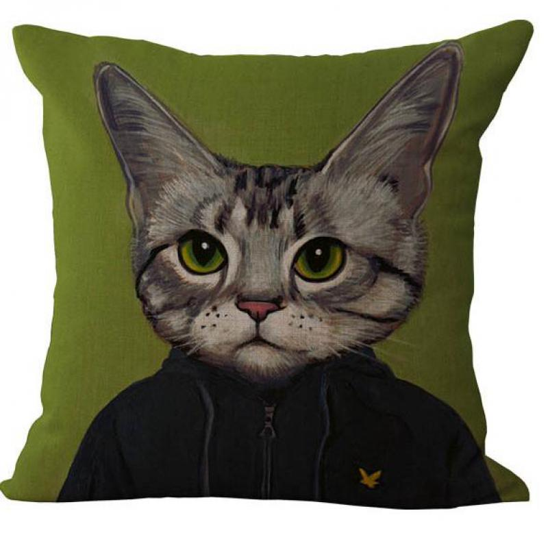 Modern Cartoon Dress Up Cat Pattern Printed Linen Throw Pillow Case Cushion Cover For Children Holiday