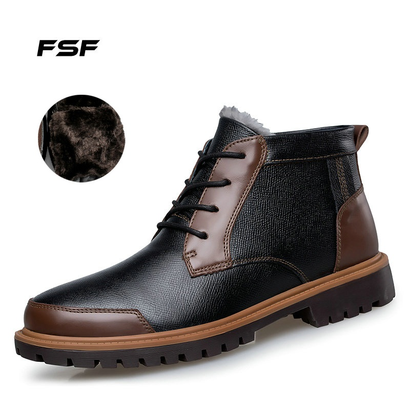 FSF Plus size Men fashion Martin boots,Big Size Men genuine Leather Winter Ankle Boots,Brand Black Motorcycle Winter Men Boots