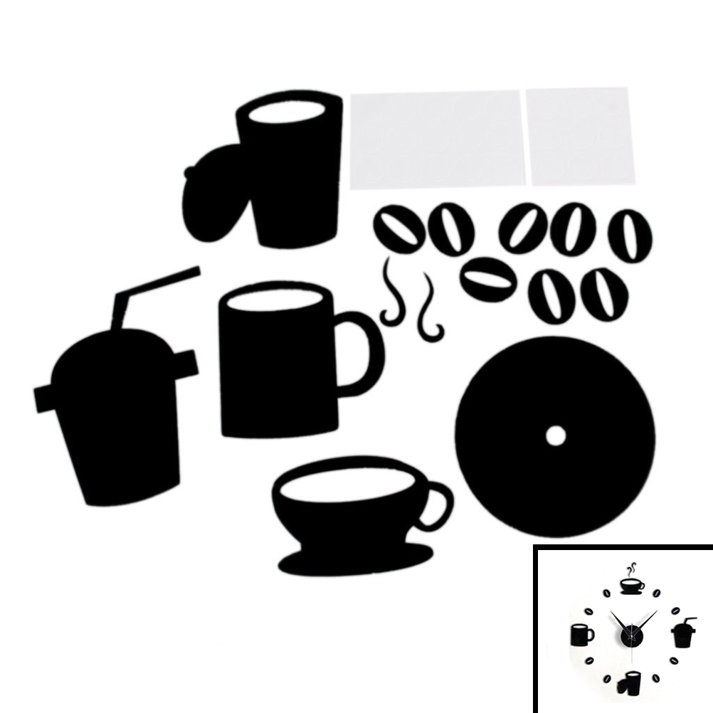 DIY Modern Home Decoration Large Coffee Cup Decal Kitchen Wall Clocks Silent Watch Decals horloge watch living room metal(China (Mainland))
