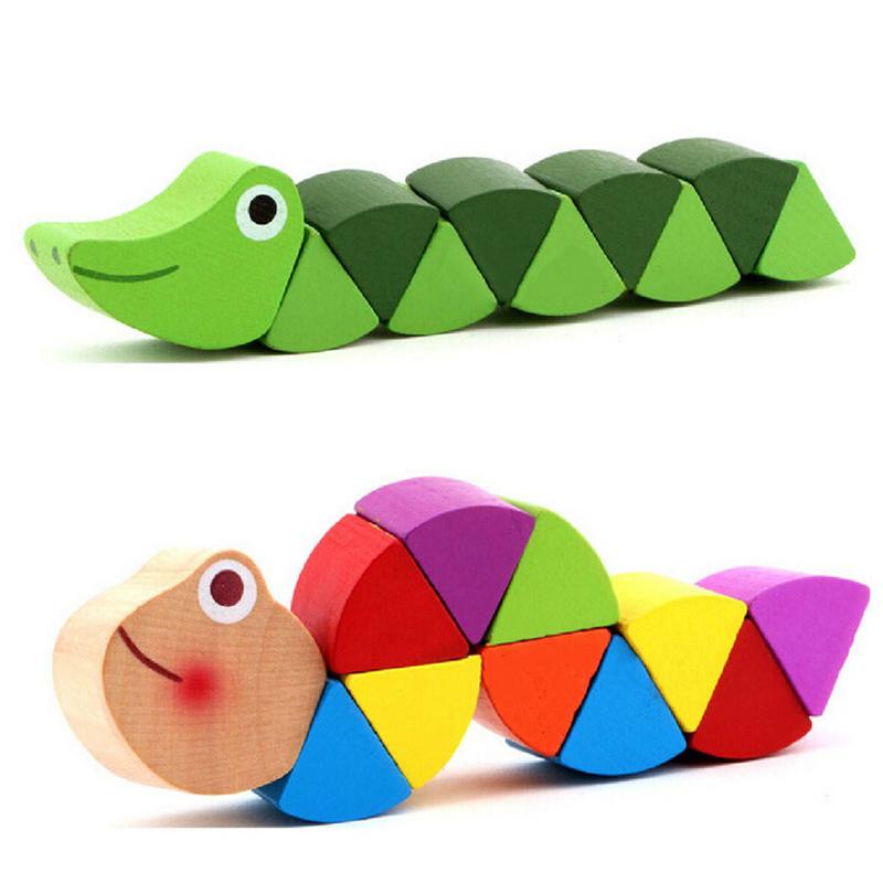 Fun Kids Baby Developmental Toys Toddler Wooden Crocodile Caterpillars Toy Free Shipping(China (Mainland))