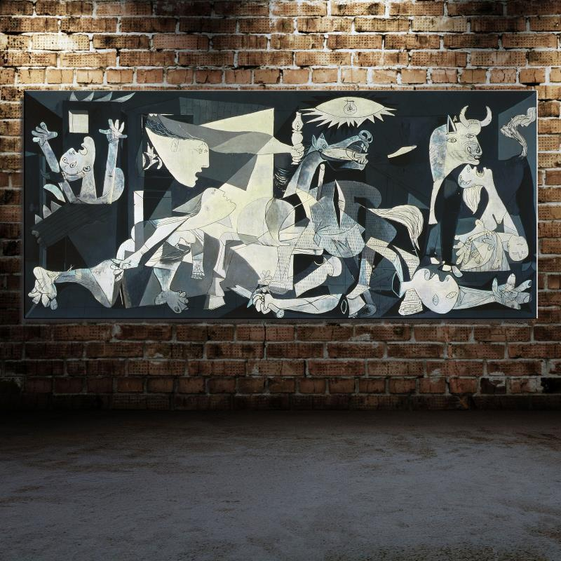 Spain France Picasso Guernica 1937 Germany Figure Painting Abstract drawing Spray Oil Painting Frameless Home decor Canvas(China (Mainland))