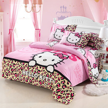 Home Textiles Bedclothes Child Cartoon Pattern Hello Kitty Bedding Sets Include Duvet Cover Bed Sheet Pillowcase FreeshippingBS1(China (Mainland))
