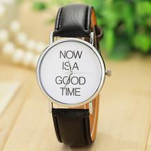 Vansvar Fashion Leather Strap Watch NOW IS A GOOD TIME Women Wrist Watches Quartz Watch Relogio Feminino Gift 1430