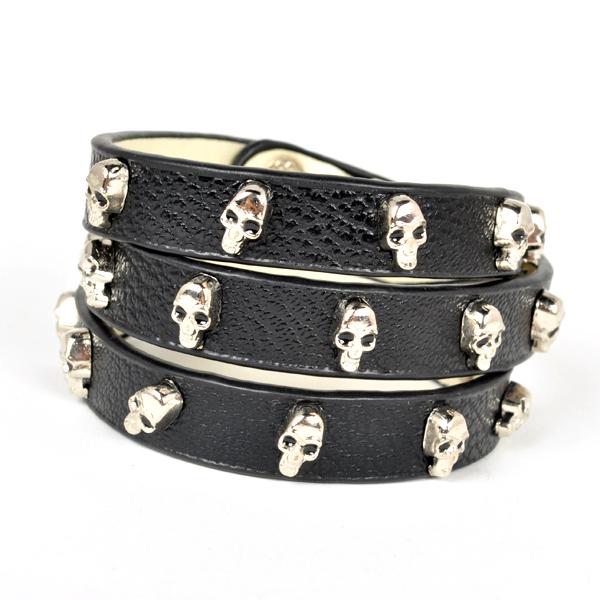 Artilady fashion gold plating skull head pu leather bangle bracelet skeleton with valentine's gift