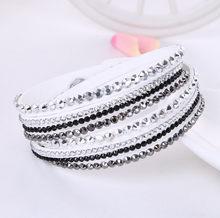 2016 nowa skórzana bransoletka Rhinestone kryształowa bransoletka Wrap wielowarstwowe bransoletki dla kobiet feminino pulseras mulher biżuteria(China)