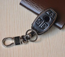 leather car key rings case Benz C E S class coupe CLS CLA GL G M R320 S400 SLK AMG chain cover - Hiwin Store store