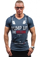 2016 Men T Shirts Summer fashion man Fit gym Short Sleeve Hooded brand Clothing Letters Printed Casual Men t Shirt Tops & Tees