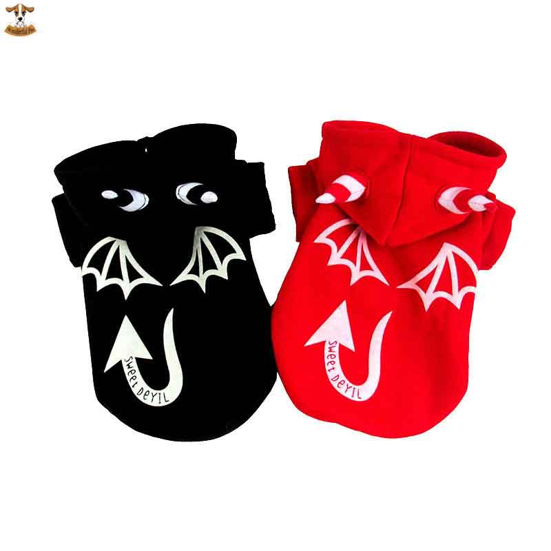 New 2015 Winter Warm Coat Pet Dog Clothes Dress Up Halloween Costume Reflective Devil Dogs Clothing Hoodies Pet Products(China (Mainland))