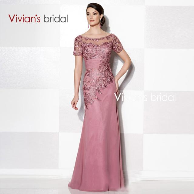 Вивиан свадебные три цвета с коротким рукавом кружева Applqiues мать невесты платье ...