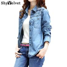2016 new fashion denim shirt women's long sleeve denim blouse embroidered denim shirts female vintage Jeans blouse casual tops(China (Mainland))