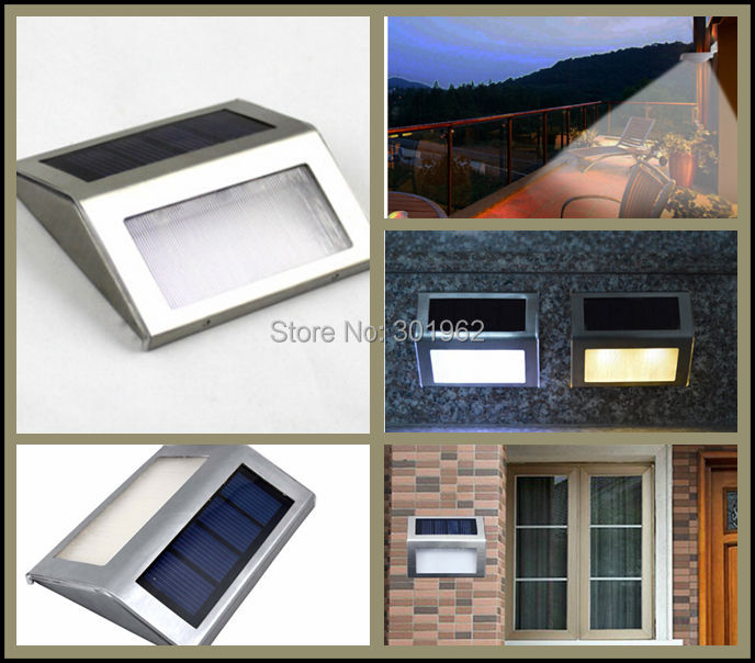 60Pcs lot Solar Power Steel LED Light Pathway Path Road Stairways Landscape Step Stairs Wall Garden
