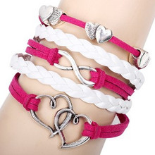 12pcs/lot New Jewelry Fashion Infinity Double Heart Leather Charm Bracelet for Women Multilayer Pink Braided Wrap Bracelet LB064(China (Mainland))