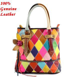 Guaranteed 100% patchwork genuine leather handbags cowhide natural women multicolor shoulder bags female 2015 New hg0116